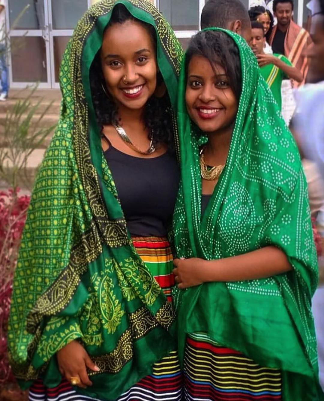 Natural beauties wearing Ethiopian traditional clothes